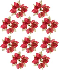 10 Pcs Glitter Poinsettia Christmas Flowers, Christmas Tree Ornaments , Artificial Xmas Flowers, Christmas Tree Decorations (Red)
