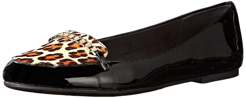 Womens Thora Ballet Flat, Black Patent/Leopard Pony Hair, 7.5 M US Bella Vita