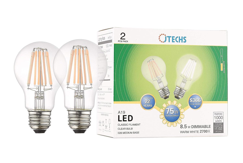 2個パック 透明 LED A19 調光機能付き 75ワット相当 温白色電球 寝室やリビング、ダイニングなど温かみのあるリラックスライトなど、明るさの増加を推奨します。 UL規格認定取得済み B07KQGR1YD