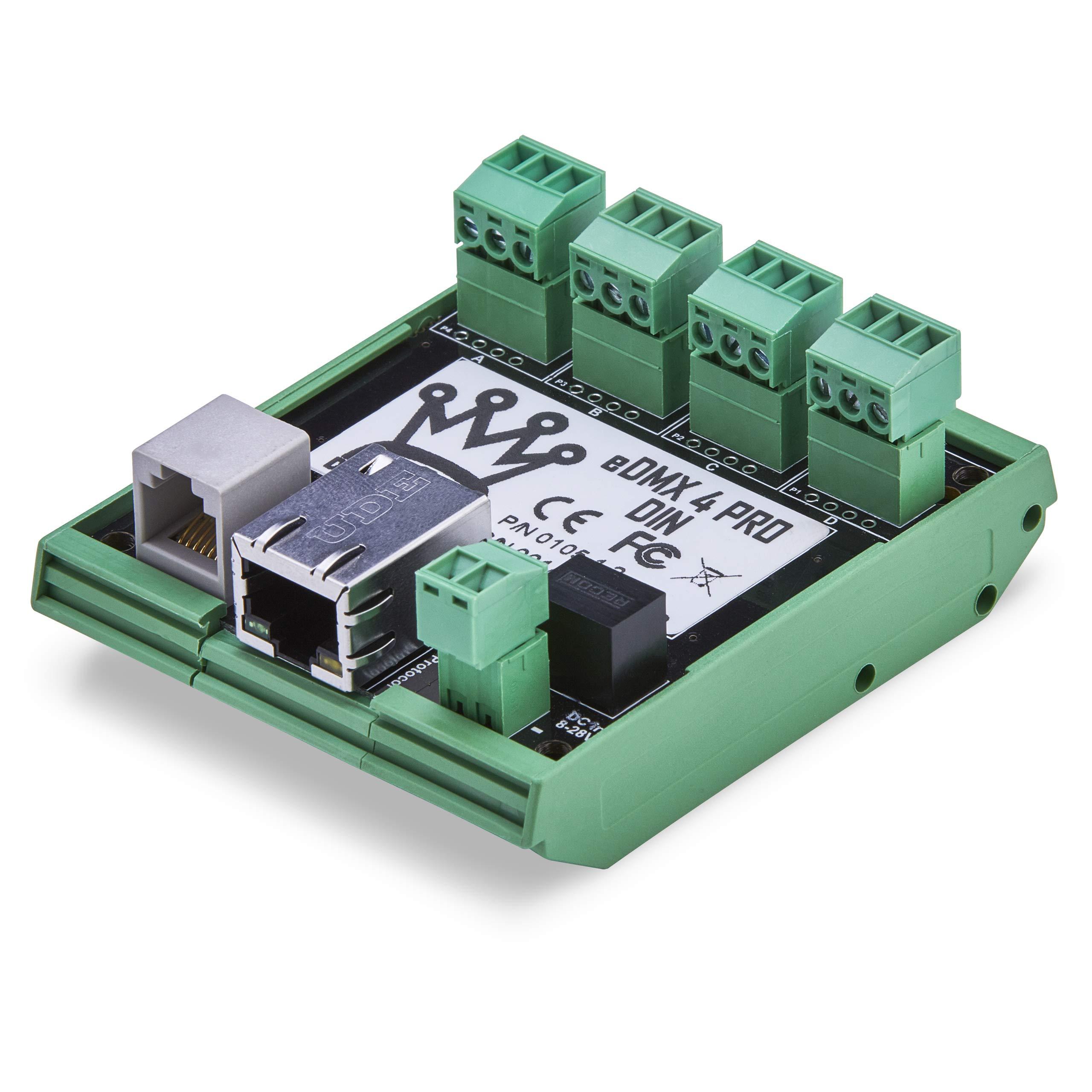 DMXking eDMX4 DIN 4-Port – ArtNet/sACN via Ethernet to DMX 512 Converter with Screw Connectors