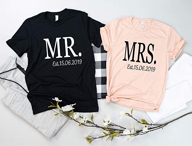 f11f95dc50c8c Mr and Mrs Custom Couples Shirts, Bride and Groom Just Married T ...