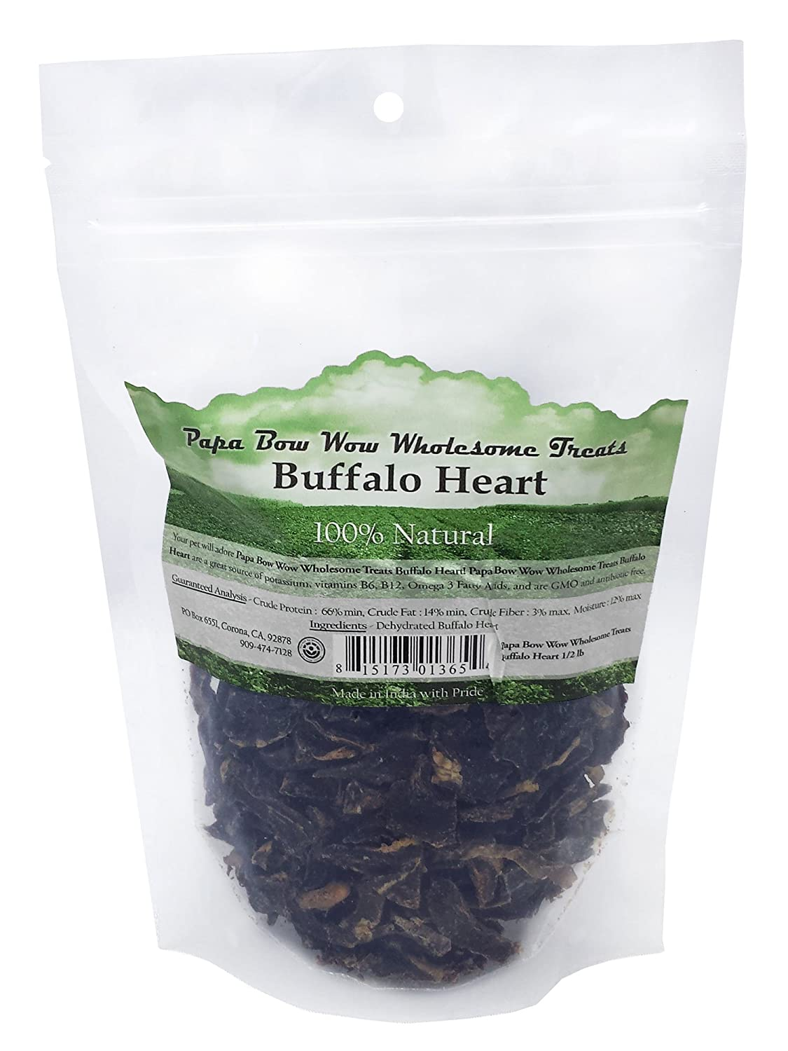 Papa Bow Wow Buffalo Heart Dog Treat, 1 2 Lb