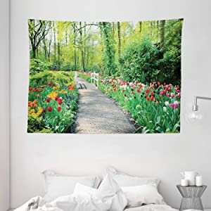 Ambesonne Garden Tapestry, Tulips in Keukenhof Gardens and Path Along Colorful Flowers Trees Nature Landscape, Wide Wall Hanging for Bedroom Living Room Dorm, 80