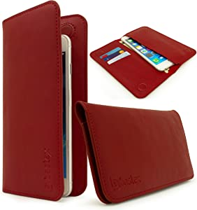 Universal Bastex Wallet Case Bi-Fold Red PU Leather Purse Clutch Style 3 Card Slot 2 Pockets for Money Credit Debit Cards for Samsung Android Phones iPhone 6 iPhone 6s Plus & iPhone 7 iPhone 7 Plus