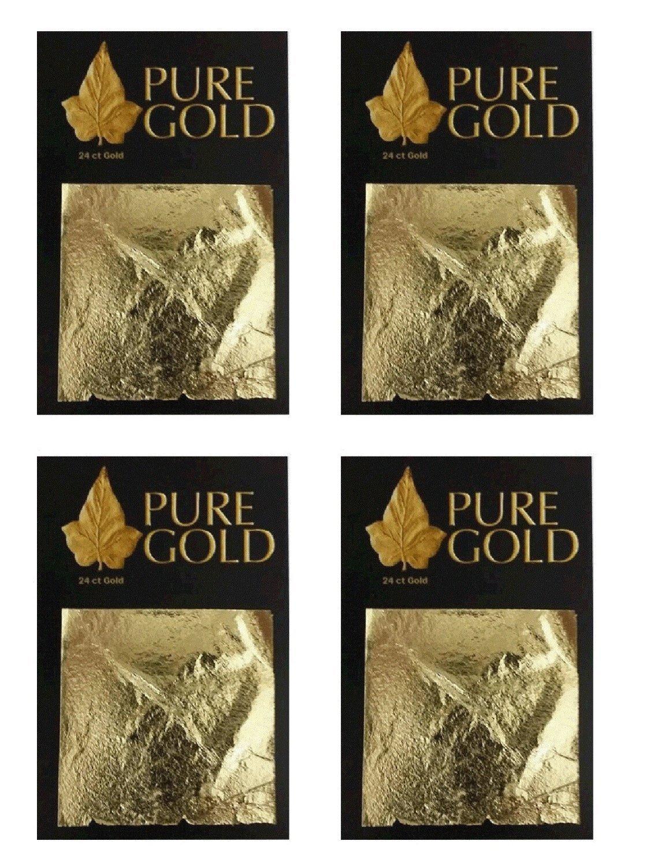 24CT Gold leaf Gilding 4.5cm x 4.5cm 4 packs of 10 40 Gold sheets