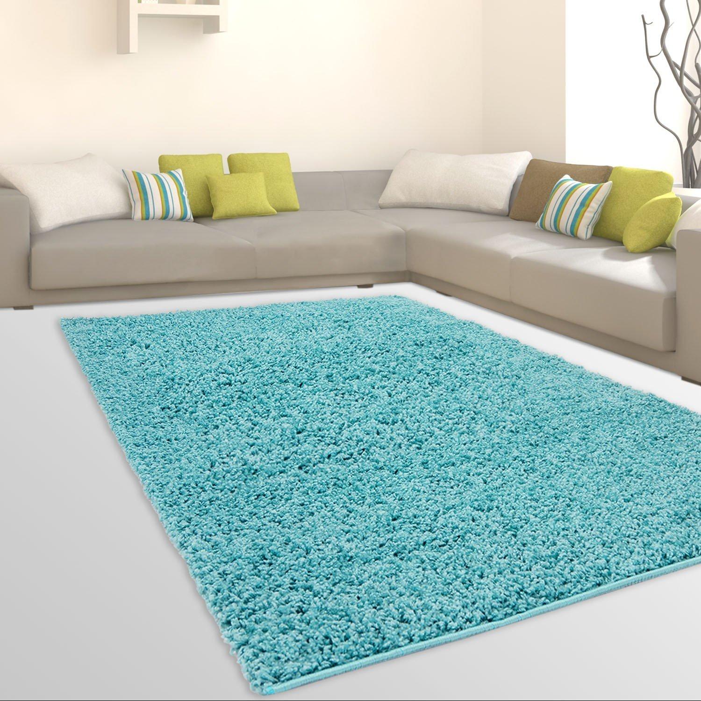 CC Uni-Light Shaggy Teppich Hochflor Samtweich Flokati Einfarbig Türkis, Größe in cm 190 x 280 cm