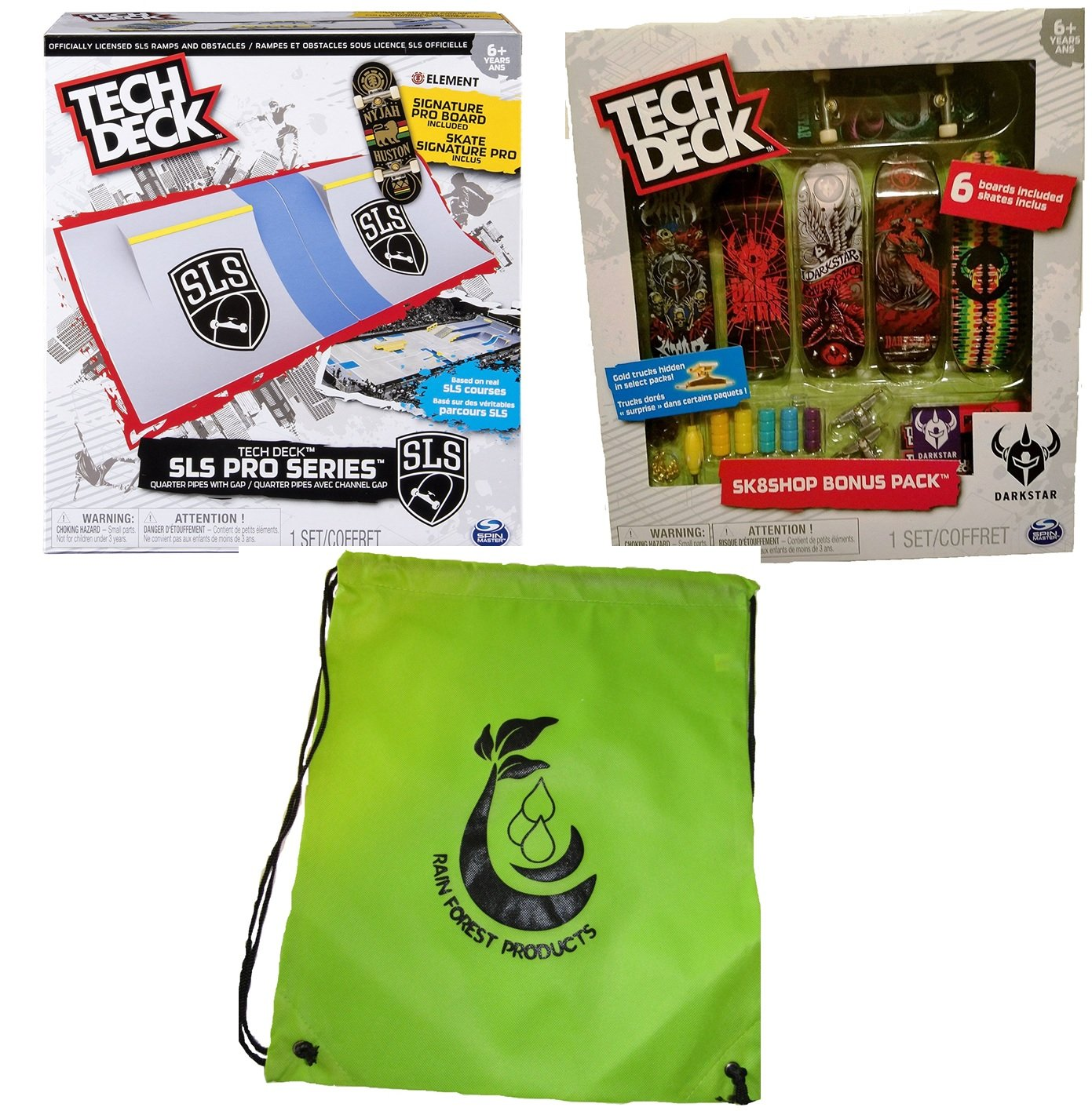 Tech Deck Bundle SLS Pro Series Skate Park Quarter Pipes, Sk8shop Bonus Pack (Style may vary) and bag