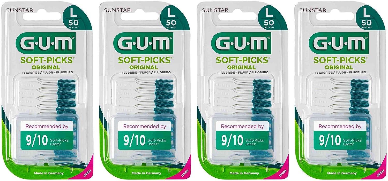 Palillos interdentales desechables GUM SOFT-PICKS Original, talla Grande (L), cuidado diario de las encías, 4 x 50 unidades, 200 palillos en total.