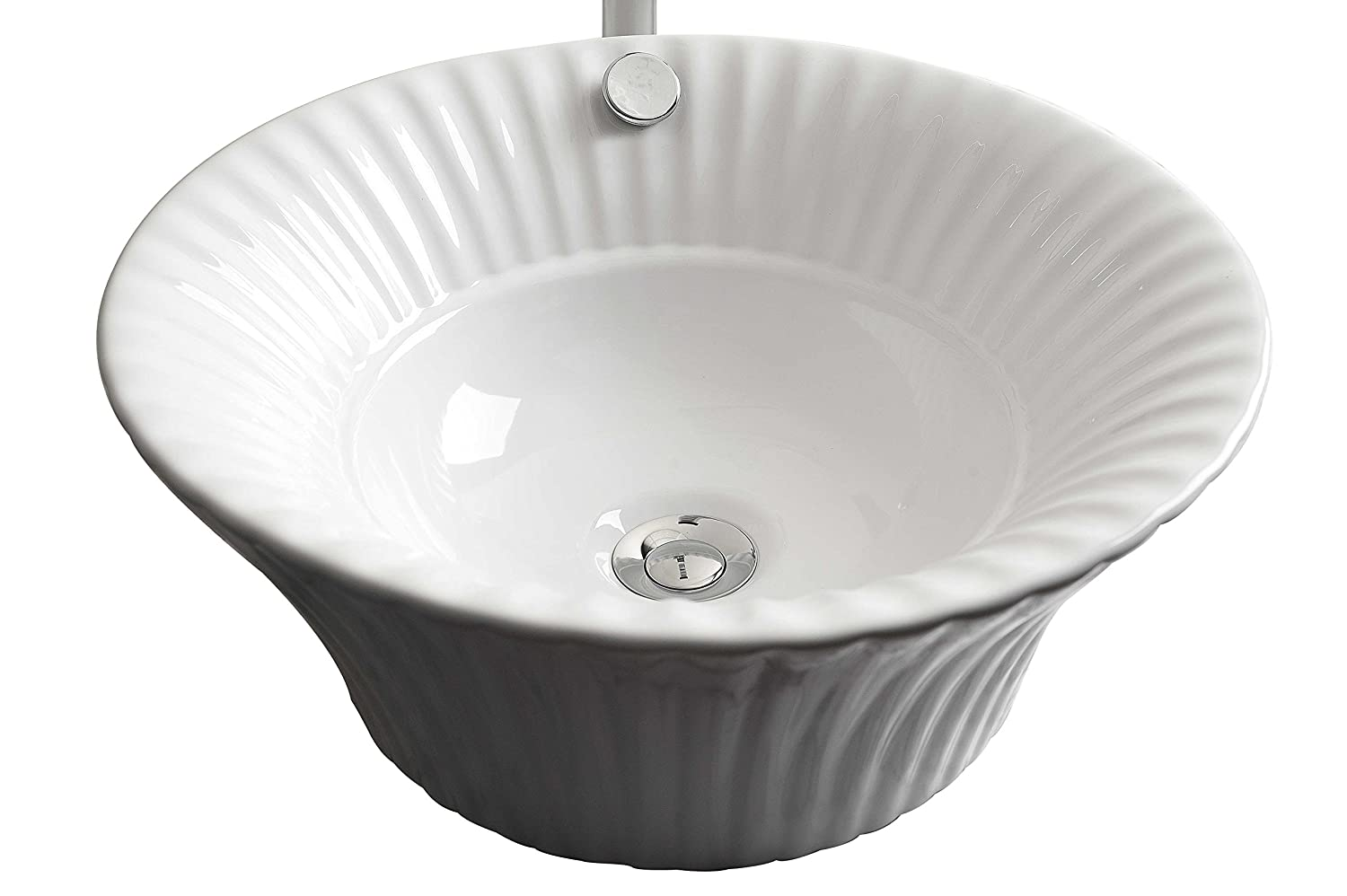 American Imaginations 17-in. W x 17-in. D Above Counter Round Vessel In White Color For Deck Mount Faucet, AI-12-265