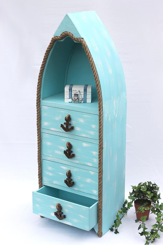 Bateau Commode 412-WH 117 cm Etagère de salle de bain Blanc Shabby Armoire Armoire de bain Meuble pour salle de bain Etagère