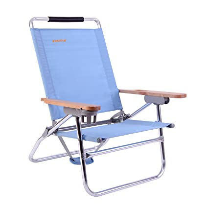 Awe Inspiring Wejoy 4 Position Beach Chair Folding Beach Lounge Cooler Chair Lay Flat Aluminum Frame Backpack Lightweight Portable With Wooden Armrest And Cup Home Interior And Landscaping Ferensignezvosmurscom