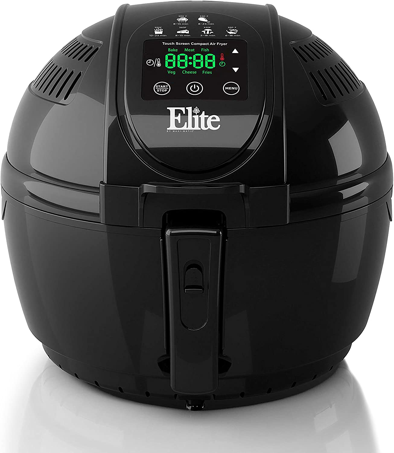 Elite Platinum EAF-1506D Electric Digital Hot Air Fryer Oil-Less Healthy Cooker Timer & Temperature Controls, 26 Recipe Cookbook, 3.5 Quart, Black