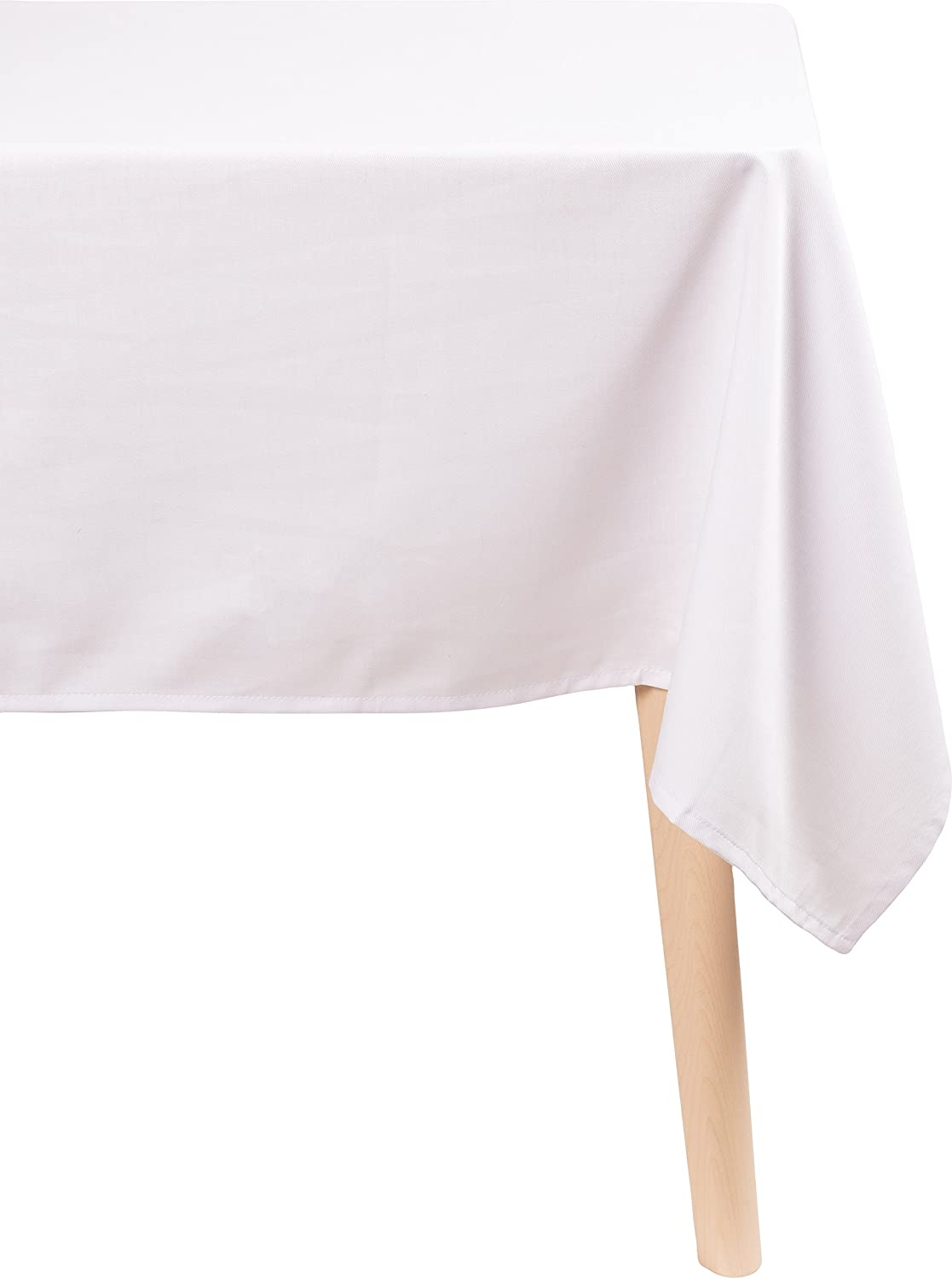 KAF Home Chateau Easy-Care Rectangle Cloth Tablecloth | 70 x 70 Inch Wrinkle Resistant Tablecloth | Perfect for Banquets, Buffet Tables, Parties, Holidays, Weddings, and Any Entertaining Event - White