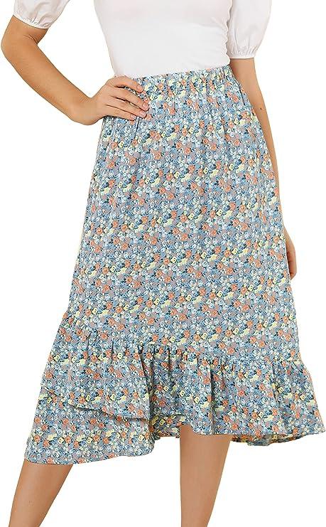 1980s Clothing, Fashion | 80s Style Clothes Allegra K Womens Floral Elastic Waist Ruffle High Low Hem Spring Vintage Skirt $21.99 AT vintagedancer.com