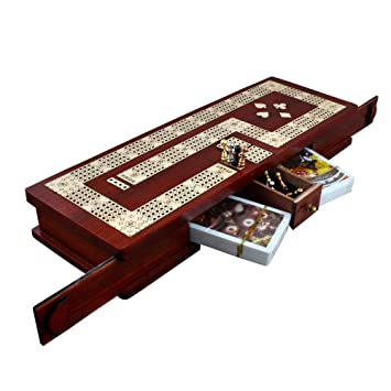 royaltyroute wooden cribbage board 4 player card game set with 12 metal pegs 2 decks
