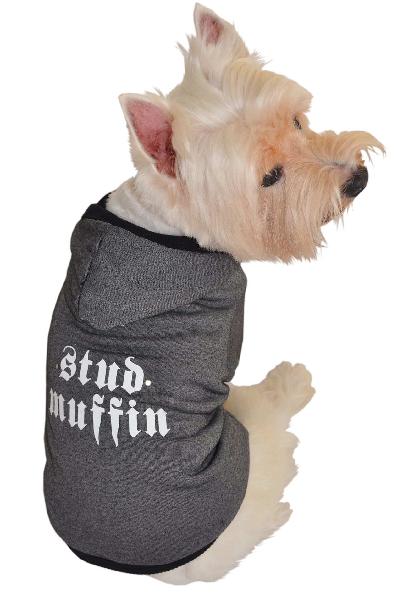 Ruff Ruff and Meow Dog Hoodie, Stud Muffin, Black, Extra-Large
