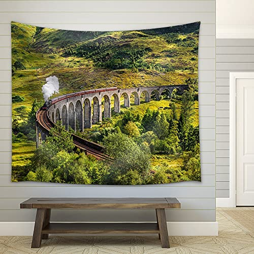 wall26 – Glenfinnan Railway Viaduct in Scotland with The Jacobite Steam Train Passing Over – Fabric Wall Tapestry Home Decor – 68×80 inches