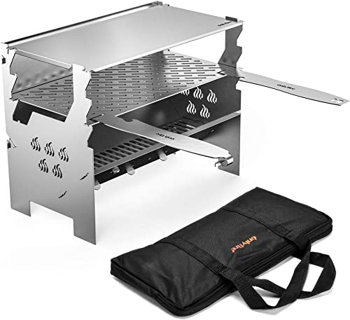 only fire Detachable Portable Charcoal Wood Grill Camping Grill for Picnic, Hiking, Backyard Cooking – with Handbag