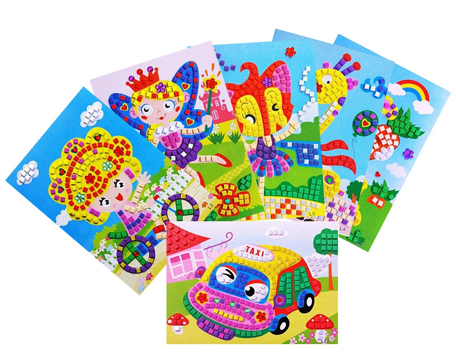 Oveelando®6in1 Mosaics Sticky Car taxi rabbit fairies fox sweet Girl card sheet pictures for Kids Peel stick display
