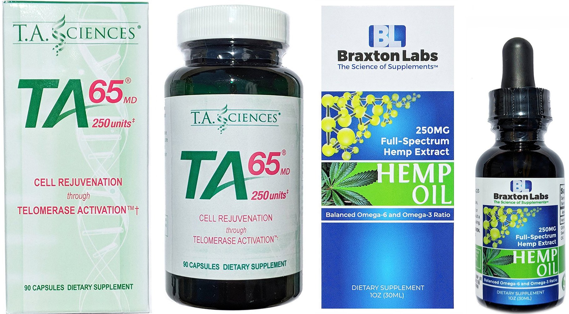 TA-65 90 Capsules 250 Units Includes a Free Bottle of Braxton Labs Premium Hemp Oil 250MG Full-Spectrum Balanced Omega-6 Omega-3 Ratio by TA65/Braxton Labs (Image #1)