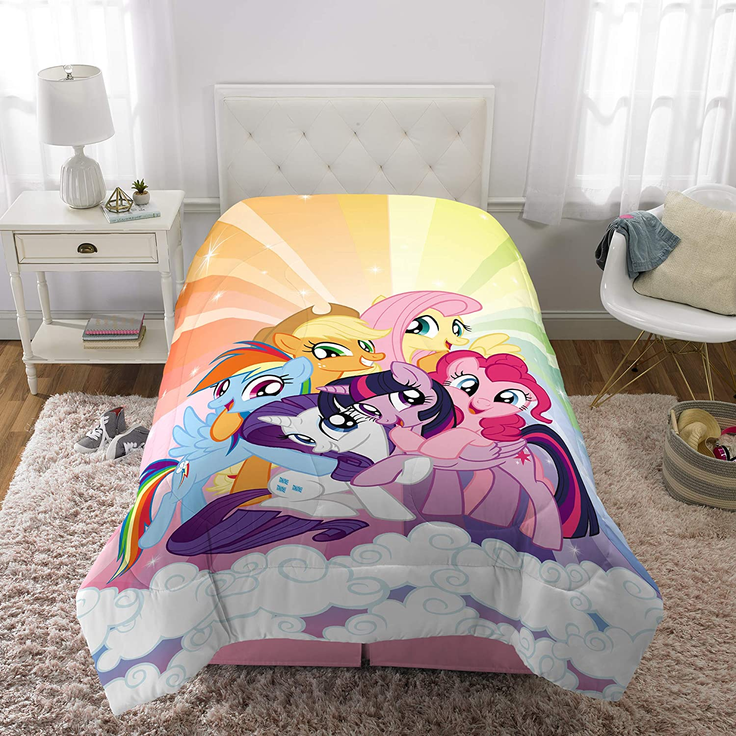 "Franco Kids Bedding Super Soft Microfiber Reversible Comforter, Twin/Full Size 72"" x 86"", My Little Pony"