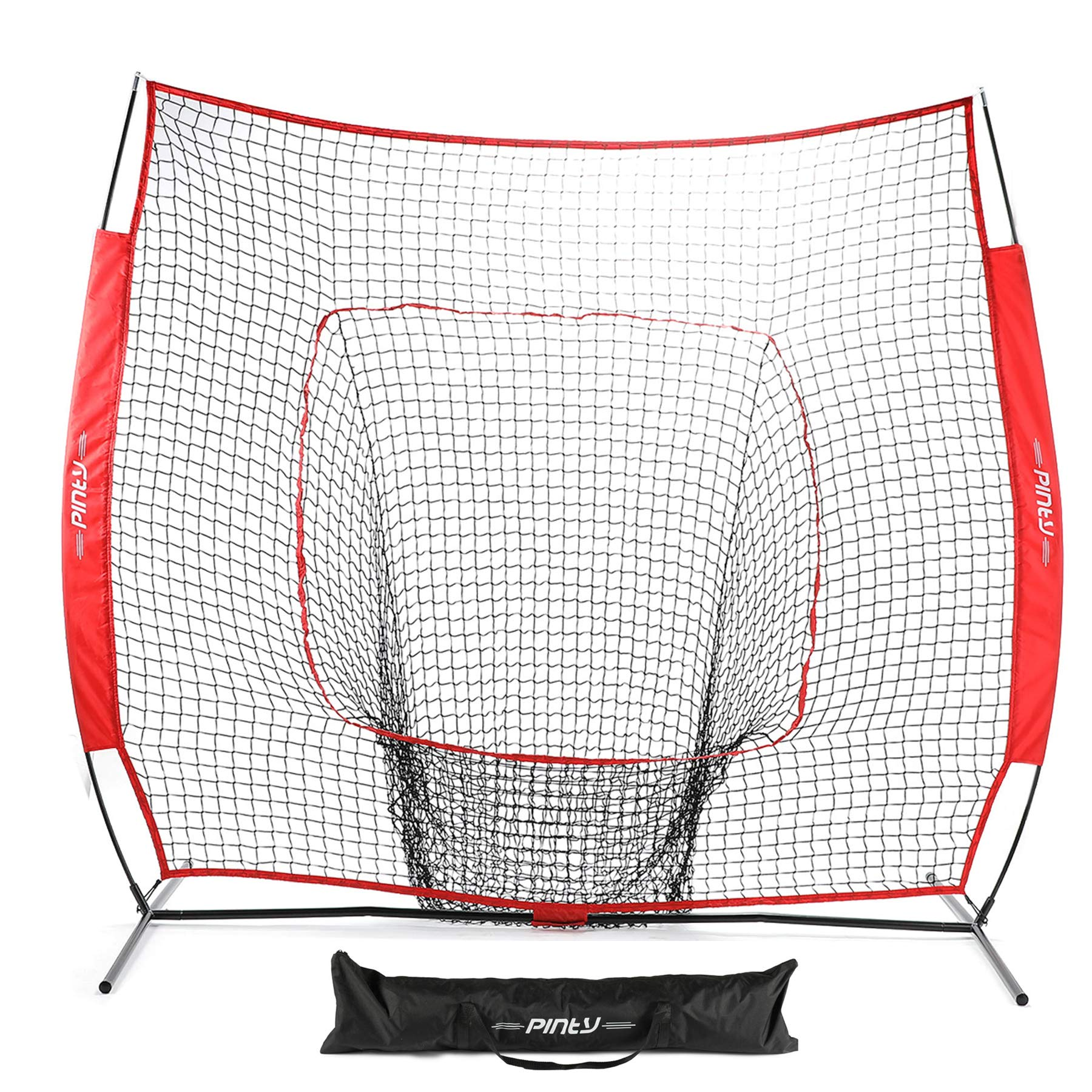 Pinty Baseball and Softball Practice Net 7×7ft Portable Hitting Batting Training Net with Carry Bag and Metal Frame by Pinty