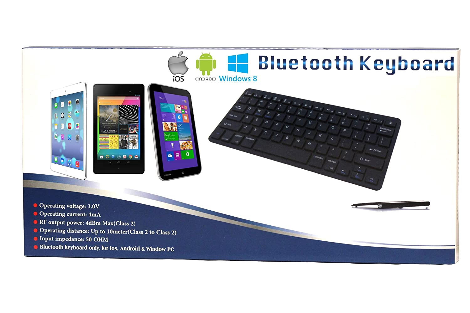 Navitech Black Wireless Multi OS Keyboard Compatible with All Android//Windows /& iOS Tablets Including The Acer Iconia One 10 B3-A50 Acer Iconia One 10 B3-A50FHD
