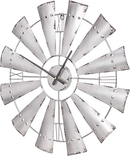 American Art Decor Metal Windmill Oversized Vintage Wall Clock 31 Silver