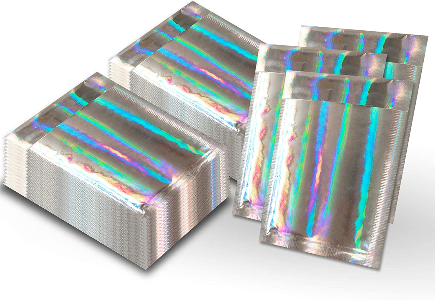 4x8 Metallic Bubble Mailers Padded Shipping Envelopes Mirrored Hologram Combo Poly Teal Polka dot 60 Pack