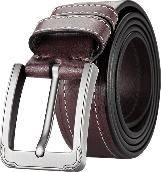 Blasea Cuir véritable style décontracté boucle ardillon jeans ceintures  pour hommes 660 Marron 105cm 9b1d558699b