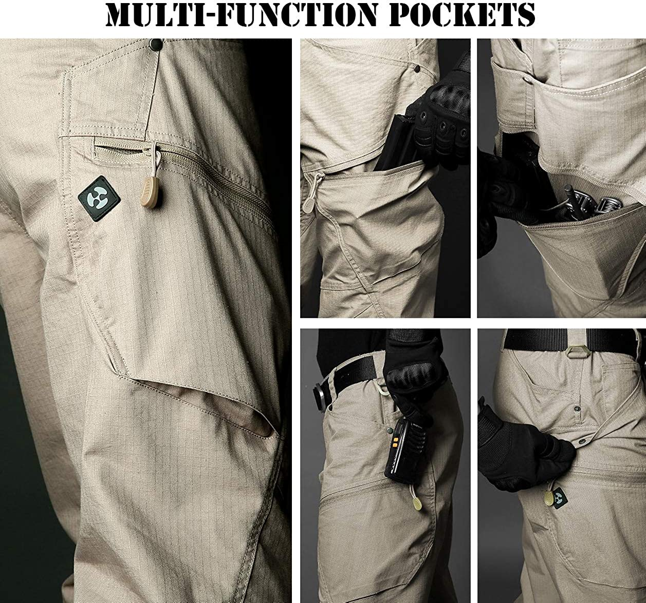 NAVEKULL Mens Hiking Tactical Pants Lightweight Stretch Ripstop Outdoor Military Cargo Pants
