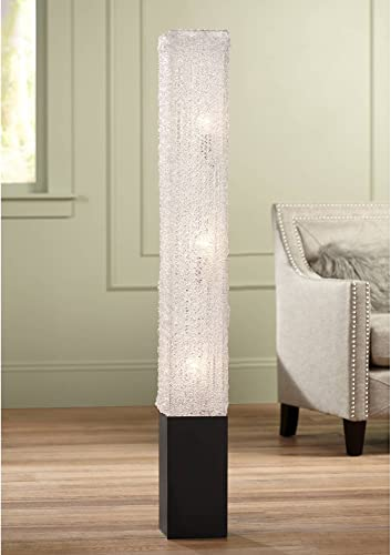 Modern Floor Lamp Noir Black Column Textured Clear Acrylic Rectangular