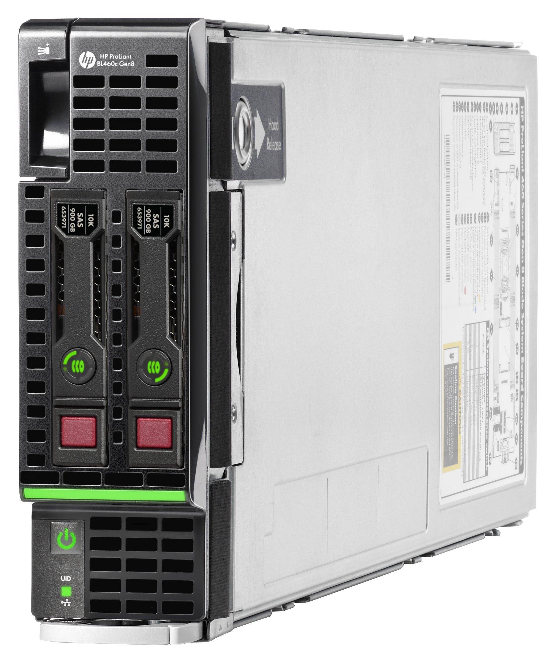HP ProLiant BL460c Gen8 Blade Server with 2xEight-Core E5-2670 Xeon 2.6Hz + 64GB PC3-12800R RAM + 2x300GB 10K SAS SFF HDD, P220i RAID, NO OS