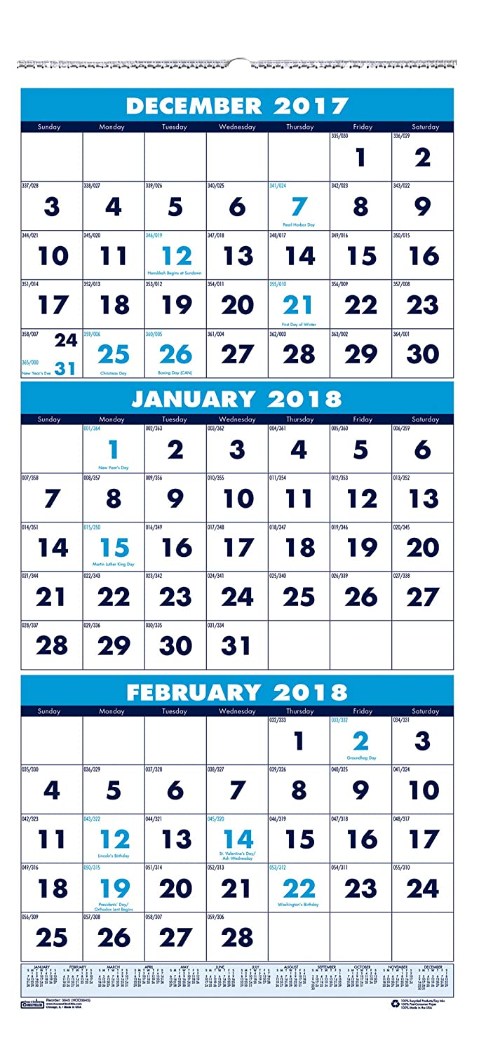 January HOD3647-20 December Three-Month Horizontal 17 x 8 Inches House of Doolittle 2020 Wall Calendar