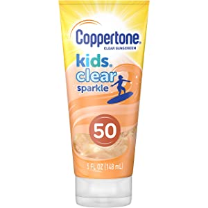Coppertone Kids Clear Sparkle SPF 50 Sunscreen Lotion, Water Resistant, Reef Friendly (Octinoxate & Oxybenzone Free), Cooling, Moisturizing, Broad Spectrum UVA/UVB Protection, Mango, 5 Fl. Ounces