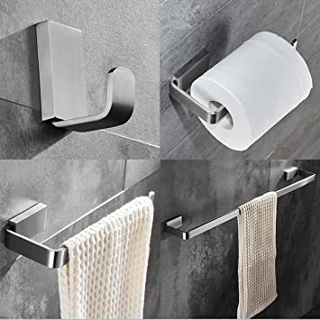 ELLOu0026ALLO Brushed Nickel Bathroom Accessories Set,Stainless Steel Towel Bar  Wall Mounted Bath Hardware Accessory