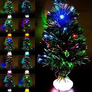 Mini Sapin De Noel Lumineux Sapin Noël Artificiel Lumineuses en Fibre Optique Petit LED Vert