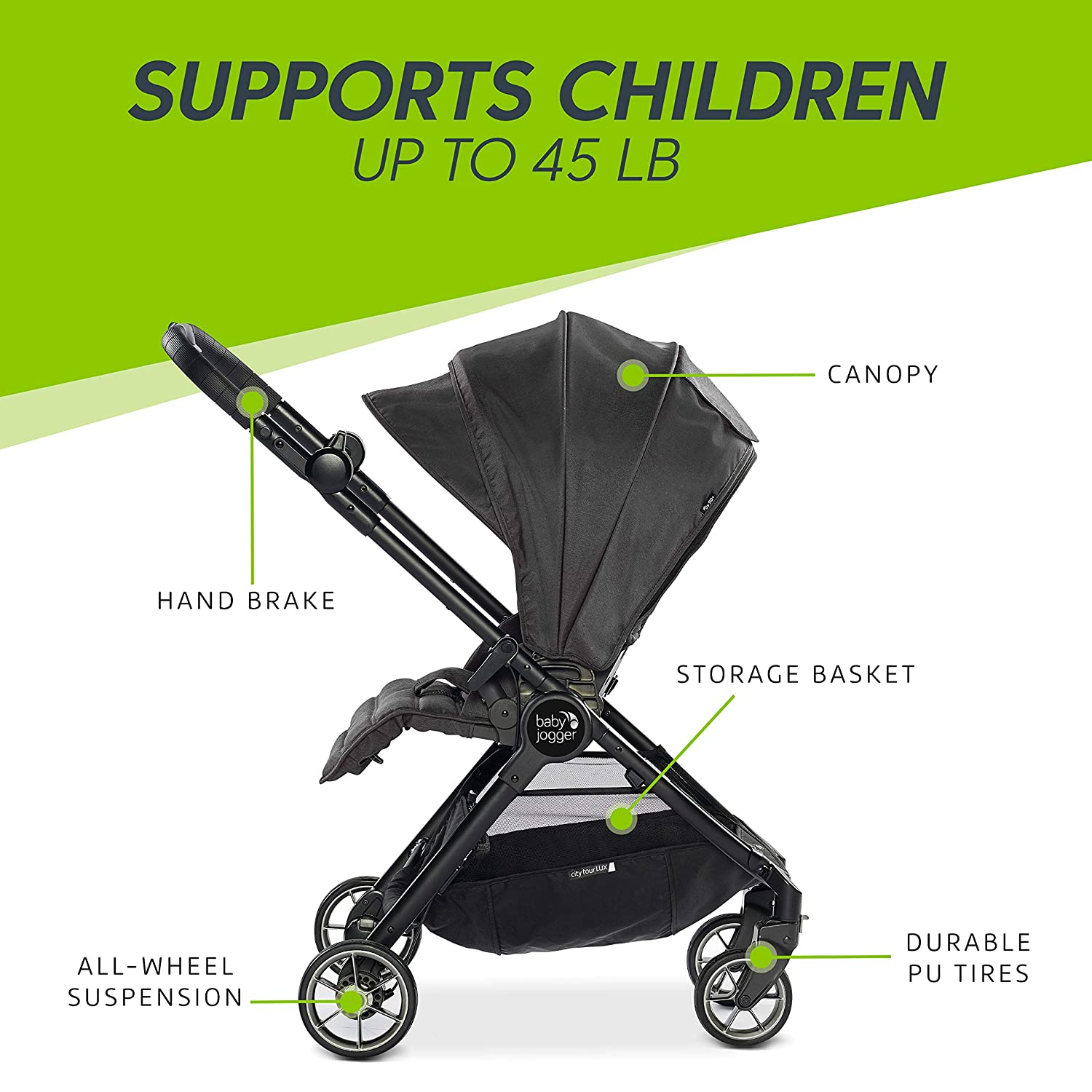 Baby Jogger City Tour Lux Stroller Compact Travel Stroller Lightweight Baby Stroller With