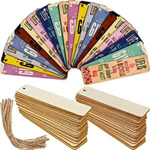 Wood Blank Bookmarks DIY Wooden Craft Bookmark Unfinished Wood Hanging Tags Rectangle Shape Blank Bookmark Ornaments with Holes and Ropes for Christmas DIY Wedding Birthday Party Decor (36)