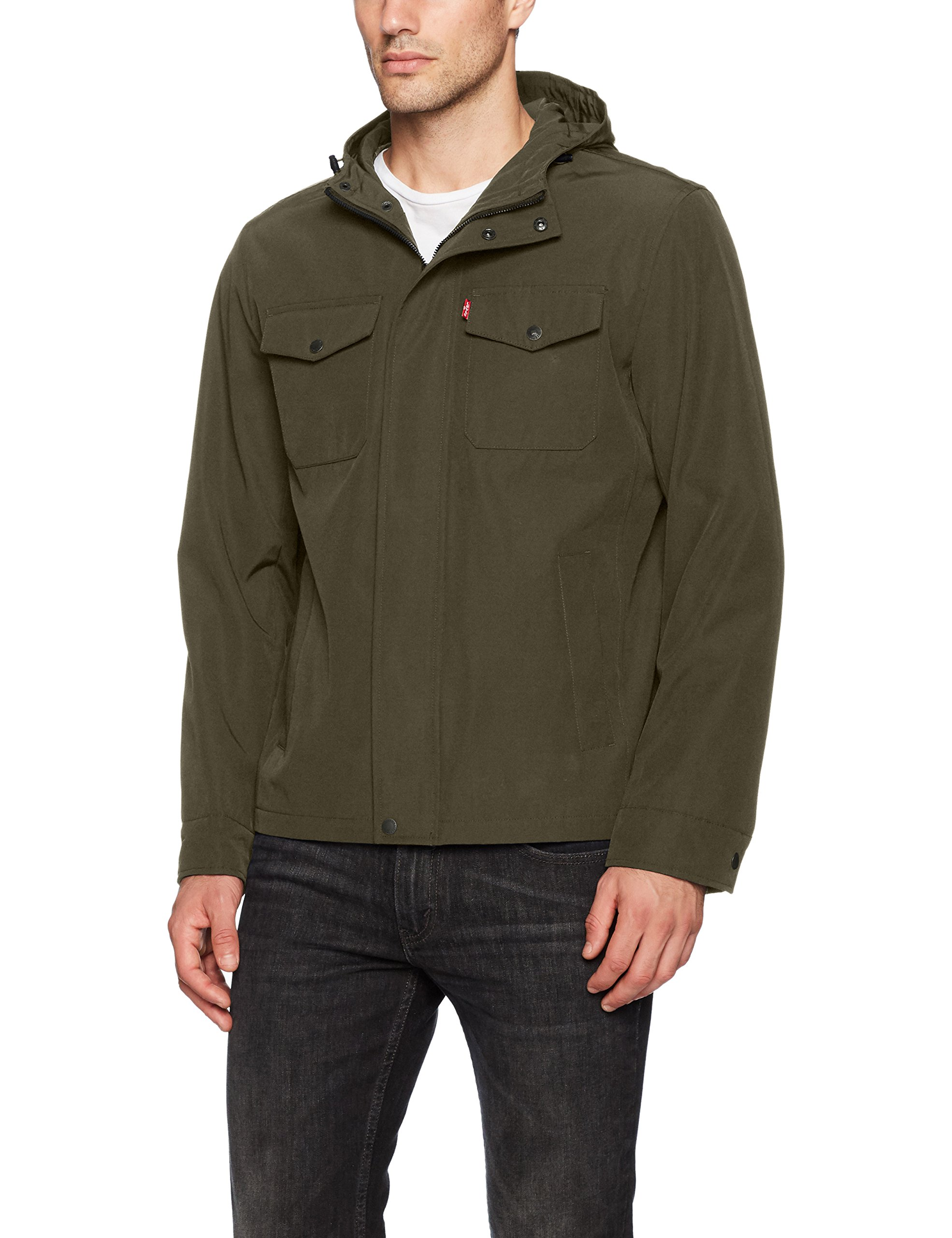 Levi's Men's Arctic Cloth Hooded Rain Slicker Jacket, Olive, Medium by Levi's