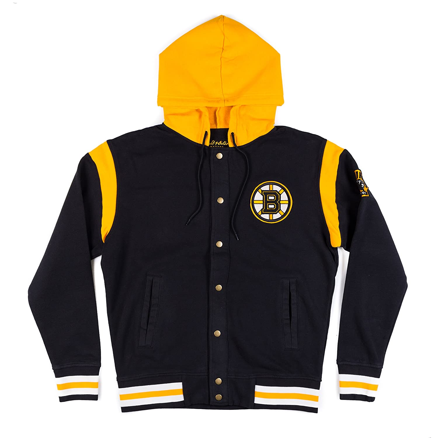 74124217c Amazon.com   Boston Bruins Stagger Hooded Button Snap Front Jacket ...
