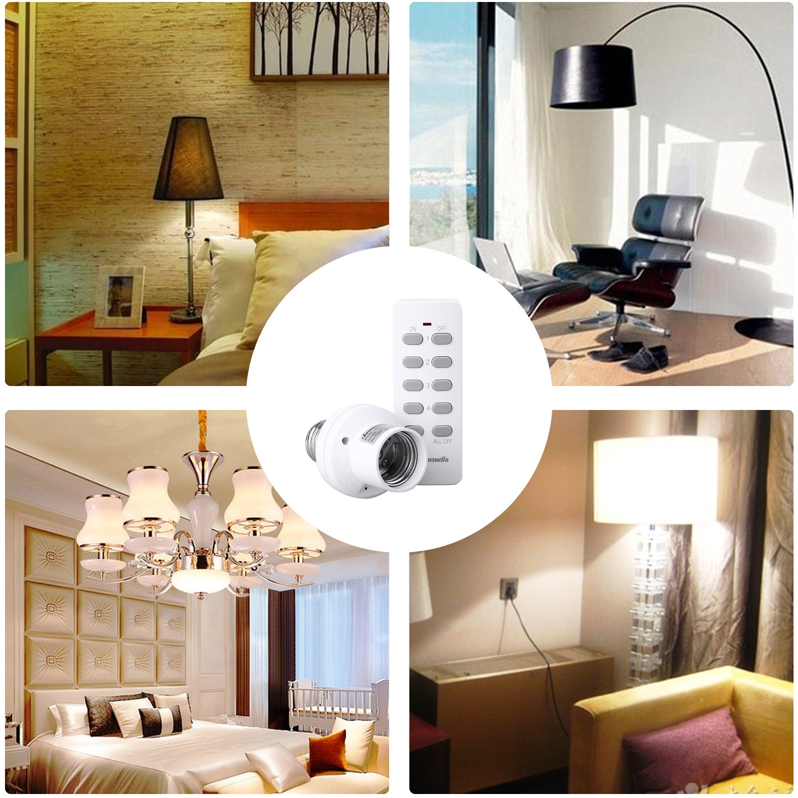 Dewenwils Remote Control Light Lamp Socket E26/E27 Bulb Base, Wireless Light Switch Kit, White (Programmable, 4 Sockets 2 Remotes, HRLSXXA Series) by DEWENWILS (Image #8)