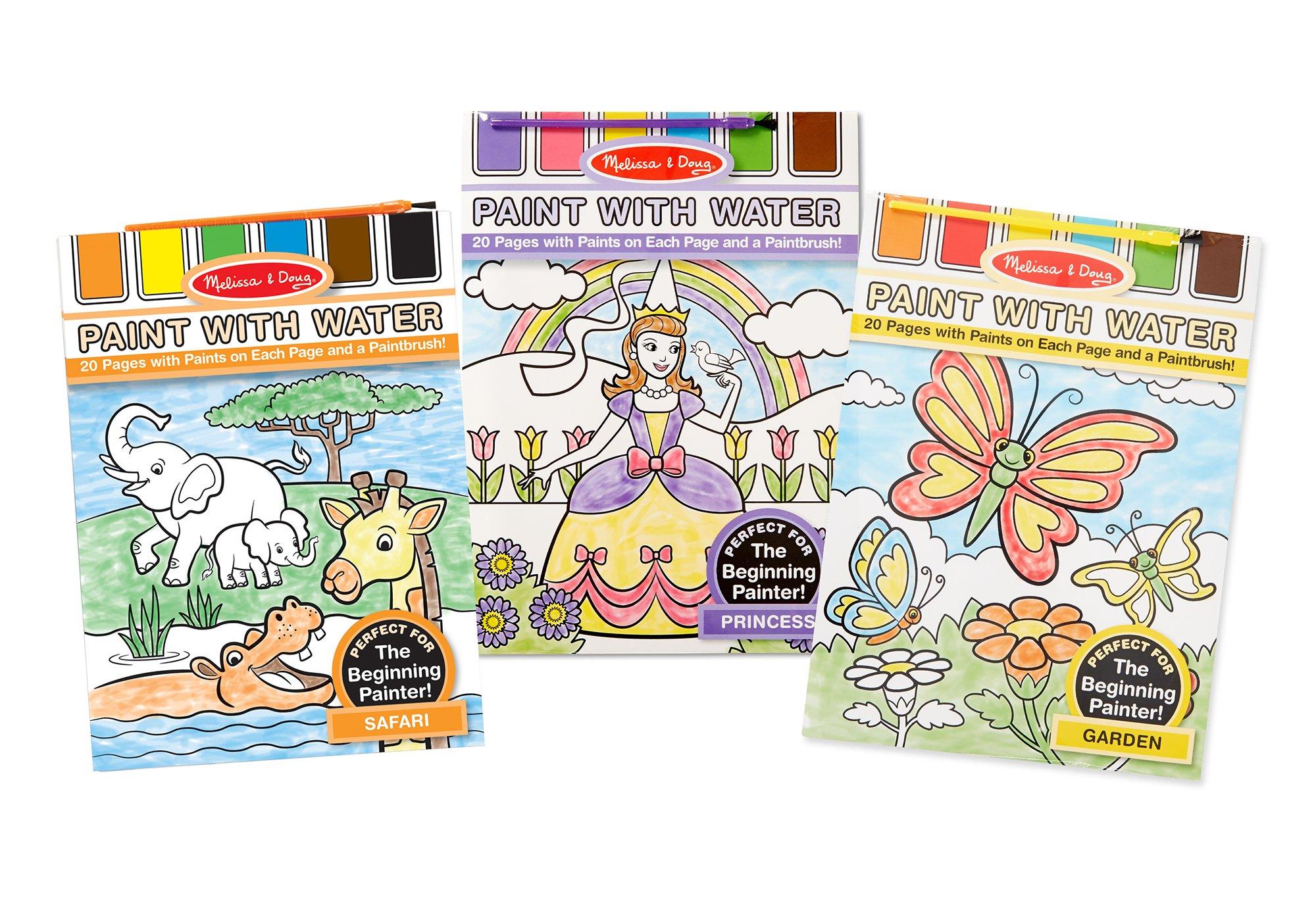 Melissa & Doug Paint With Water Activity Books Set: Safari, Princess, and Garden