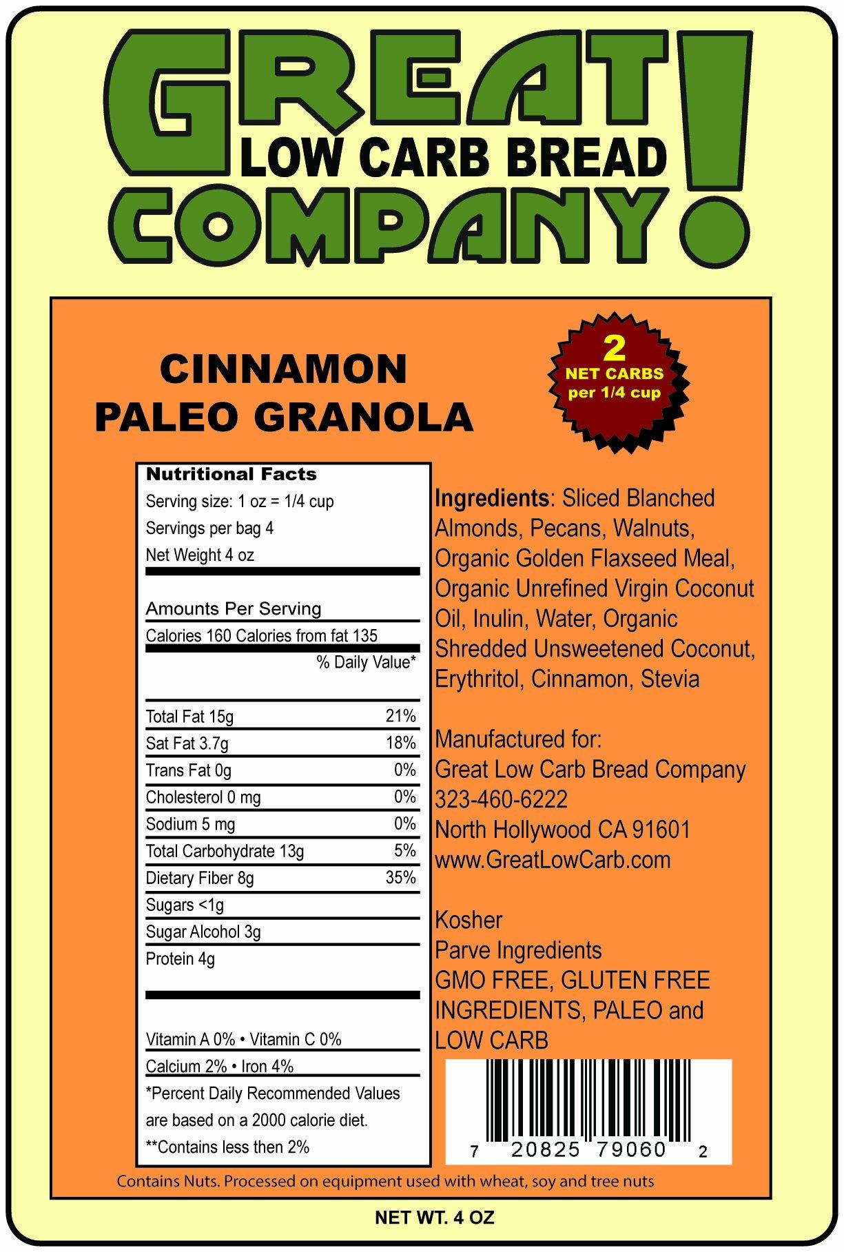 Great Low Carb Paleo Granola Cinnamon Flavor 3- 4oz Bags