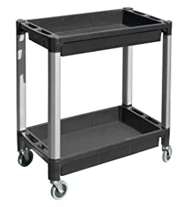 "MaxWorks 80384 Black and Gray Two-Tray Service/Utility Cart With Aluminum Legs And 4"" Diameter Swivel Castors"