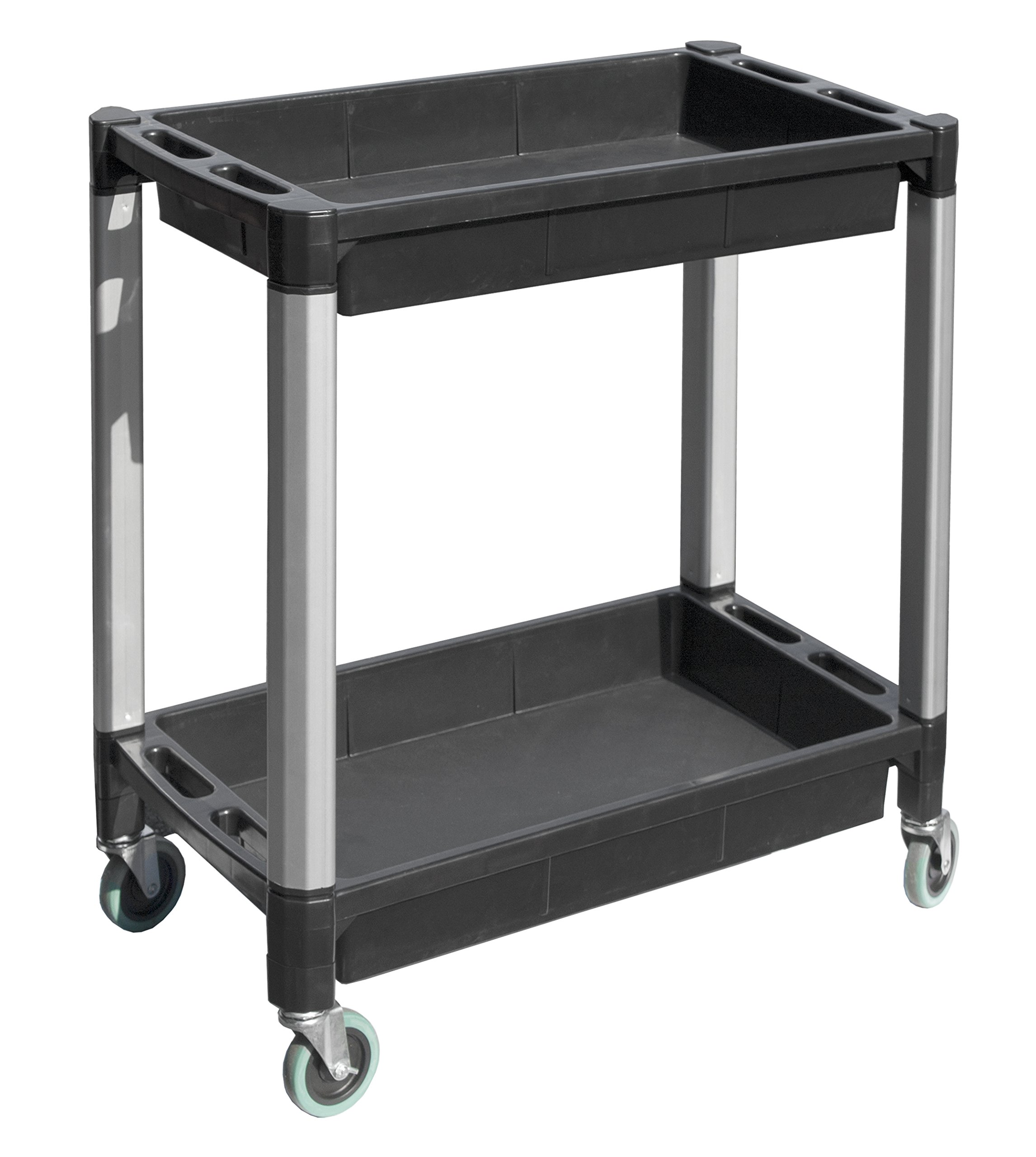 MaxWorks 80384 Black and Gray Two-Tray Service/Utility Cart With Aluminum Legs And 4'' Diameter Swivel Castors