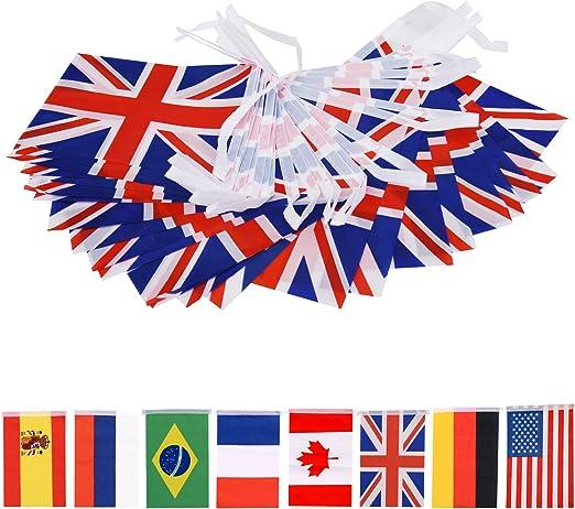Spar.saa Bandera de Reino Unido/Alemán/Francés/Brasil/Canadá/Australia/ España/Español/Portugués/Ruso, 60 piezas de banderas nacionales del mundo: Amazon.es: Jardín