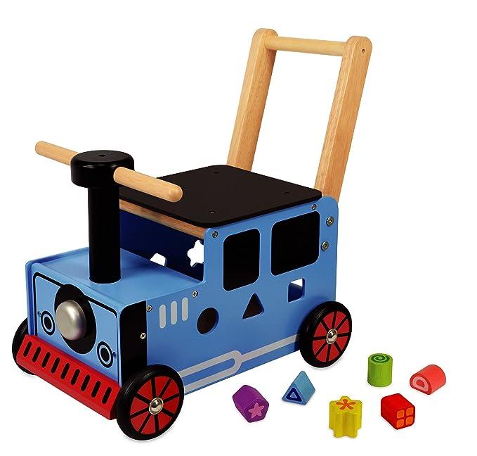 Carro de juego para empujar con diseño de tren: Amazon.es: Juguetes y juegos