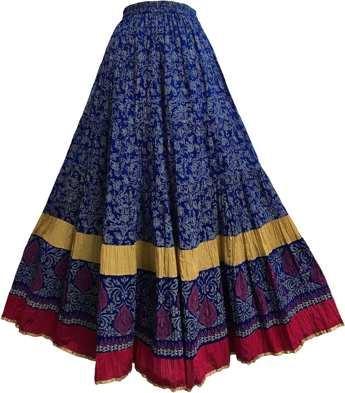 Vintage Phool Indian cotton gauze broomstick peasant Black and white block print style midi skirt boHo hippie