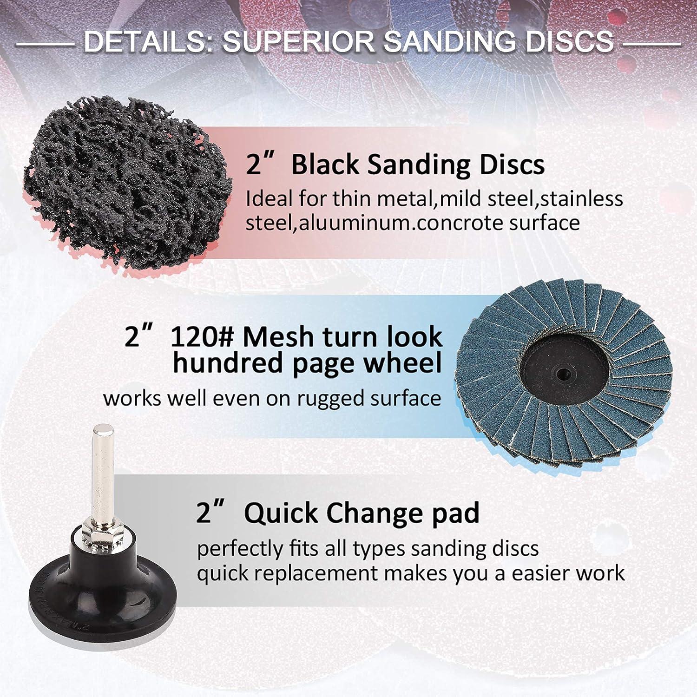 uxcell 42 discos de lija Roloc de 2 pulgadas grano medio fino superficie de bloqueo de rollo de nailon grueso